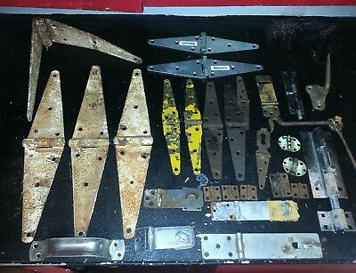 Large Antique-Vintage Lot Barn Door Cabinet Hinges Lock Bolt Hook Latches Handle