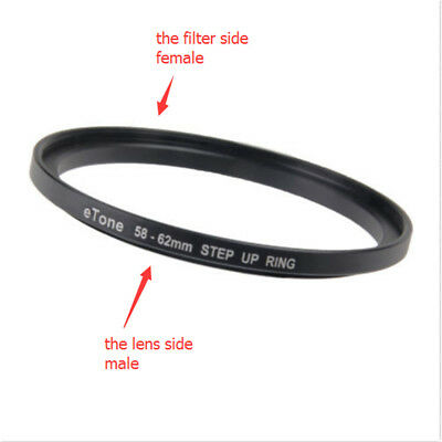 eTone 58mm Lens to 62mm Accessory 58-62mm Step Up Metal Lens Adapter Filter Ring