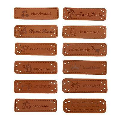 12pc PU Leather Tags On Clothes Garment Labels For Jeans Bags Shoes Sewing Brown