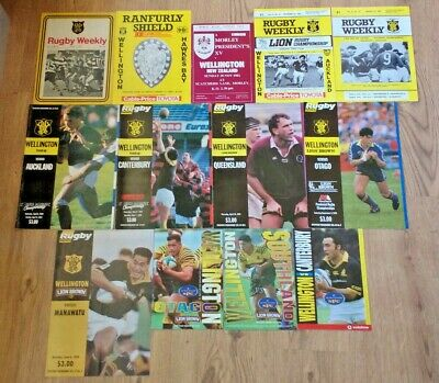 Wellington Rugby Union Programmes 1969 - 2000