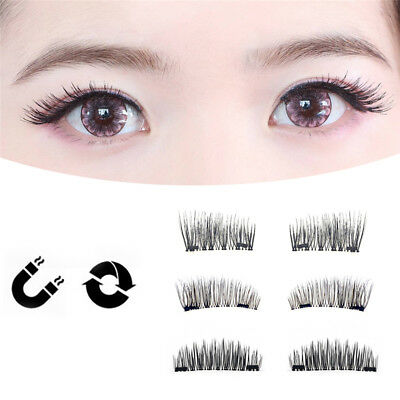 4Pcs Double Magnetic False Eyelashes 3D Natural Extension Handmade Eye Lashes