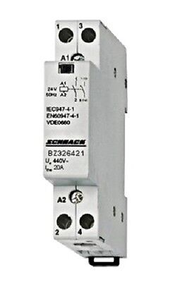 Modular contactor 20A in AC-1, 1NO+1NC contacts, coil voltage 24VAC, width 1M