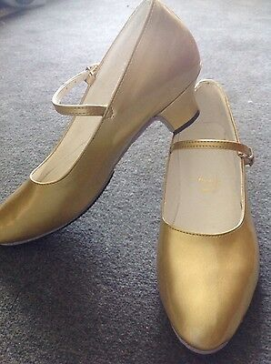 Stage  Gold Modern Dancing Genuine Leather Shoes High Heel 39