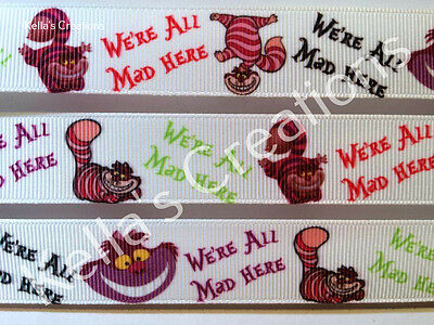 """Cheshire cat, Alice in wonderland 7/8"""" grosgrain ribbon sold by 2 M - Craft"""