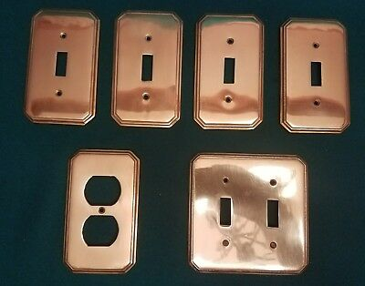 Vtg Brass Outlet & Light Switch Plates Covers LOT of 6 double switch EXCELLENT