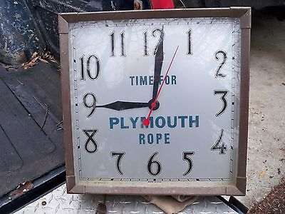 Plymouth Rope Vintage Clock with Patina Time for Plymouth Rope Advertising