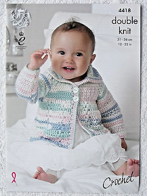 KING COLE CROCHET PATTERN 4418. BABY COAT AND BLANKET . 12 - 22 ins.  DK
