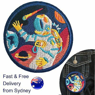 Astronaut iron on patch - Space Star NASA Astronomy round universe embroidery