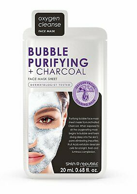 Skin Republic Oxygen Cleanse Bubble Purifying Charcoal Face Mask Skin Care 20ml