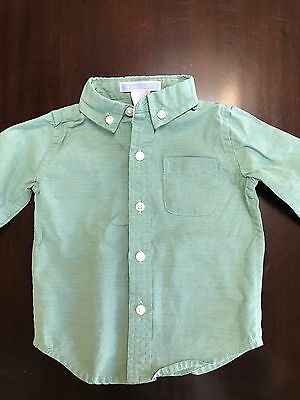 Janie And Jack Baby Boy Button Up Green 3-6 Months EUC