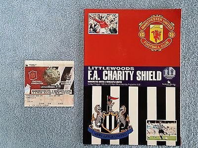 1996 - CHARITY SHIELD PROGRAMME + MATCH TICKET - MANCHESTER UTD v NEWCASTLE UTD