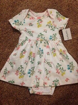 NWT Baby Girls Size 3 Months Dress Carters Summer Floral One Piece