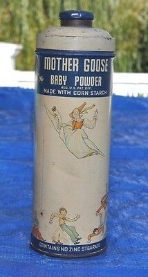 Antique/vintage Early Mother Goose Baby Powder Tin Rare Cow Jumps Moon
