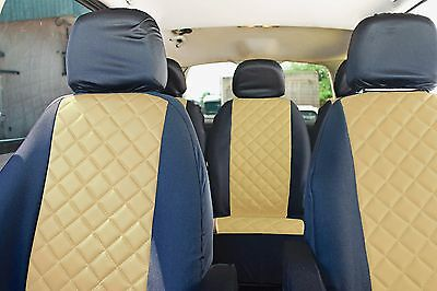BEIGE Leather +Fabric LUXURY Seat Covers for VW Sharan Ford Galaxy Seat Alhambra