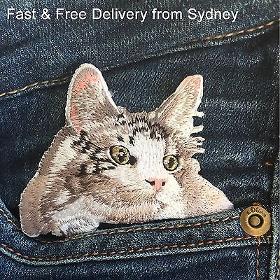 Dreamy cat Iron on patch - Fast delivery Daydreaming Feline kitten embroidery
