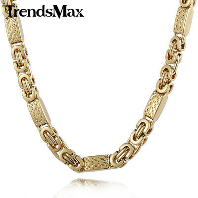 Trendsmax Customize ANY Length 6mm Wide Gold Color Byzantine Link Stainless S...