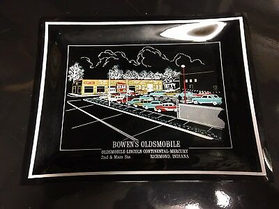 Olds Smoked Glass Automobile Dealership Ash Tray-Mitchell Motors Oldsmobile