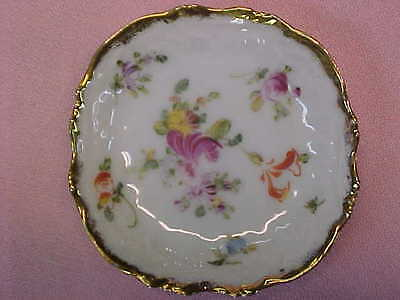 "Vintage Flowers with Gold Trim Butter Pat 2 3/4"" Wide  #105"