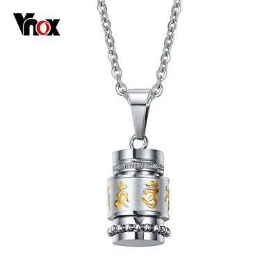 Vnox Cool Rotatable Mantra Necklaces & Pendants Stainless Steel Prayer Neckla...
