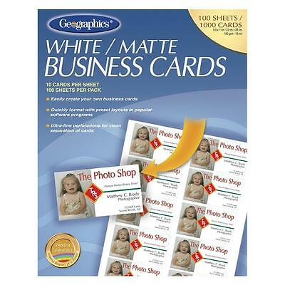 """Geographics Printable Business Cards Matte 3-1/2""""x2"""" 1000/PK White 46102"""