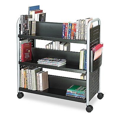 Safco Scoot Book Cart Six-Shelf 41-1/4w x 17-3/4d x 41-1/4h Black 5335BL