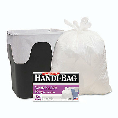 Handi-Bag Super Value Pack 8gal 0.6mil 22 x 24 White 130/Box 6 Box/Carton