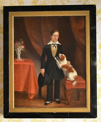 Beautiful mid 19th Century Portrait of boy with his dog