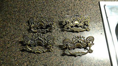 4 Vintage Antique hardware drawer pulls handles Ornate Brass Finish Firniture