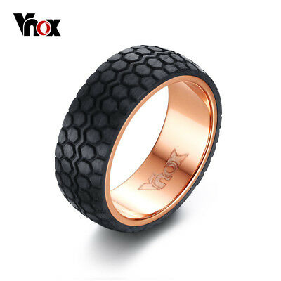 Vnox Punk Men's Tire Ring Jewelry Black Carbon Fiber Tyre Design Party Rings