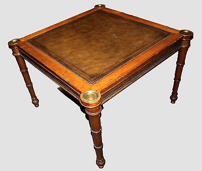 Ferguson Copeland Regency Style Game Table - Fruitwood with Leather Top