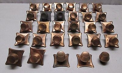 Lot of 28 Vintage Copper Cabinet Door Drawer Handles Pulls Knobs Backplates