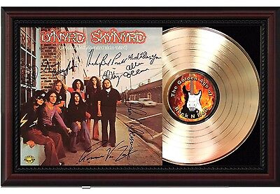 Lynyrd Skynyrd - 24k Gold LP Record With Reprint Autographs In Wood Frame