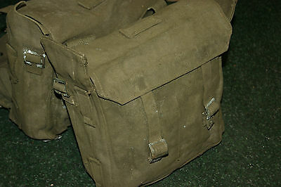 Post Ww2 Pair Of Army Motorcycle Panniers Military Heavy Duty Canvas Green Bike