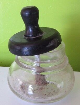 Vintage Glass Post Office Glue Paste Pot Illinois