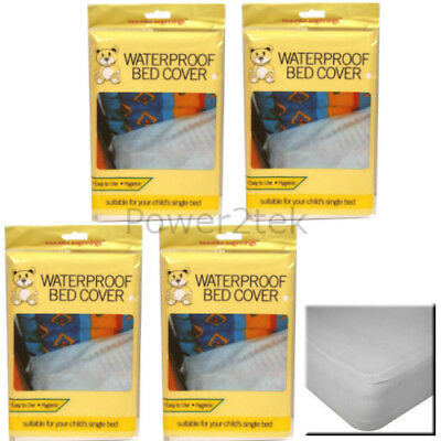 4 x Kids/Child Waterproof Single Bed Mattress Protector Cover Baby Cot Sheet NEW