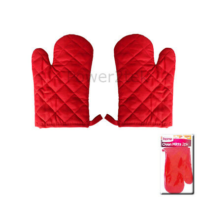 Pair of Gloves Heat Resistant Gloves Kitchen Oven Cooking Baking Red Mitts NEW