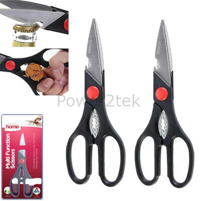 2 x Multi-function Stainless Steel Kitchen Scissors Nut Cracker Bottle Opener UK