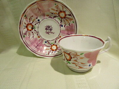 Antique Pink Luster Pre Civil War 1840's Early Cup And Saucer Floral Pattern