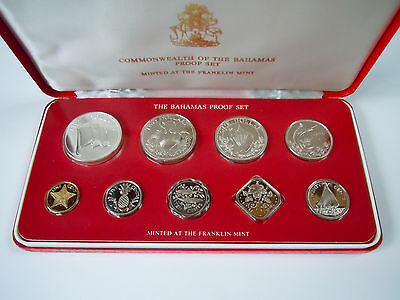 1981 Commonwealth of the Bahamas 9 Coin Proof Set _ Franklin Mint COA