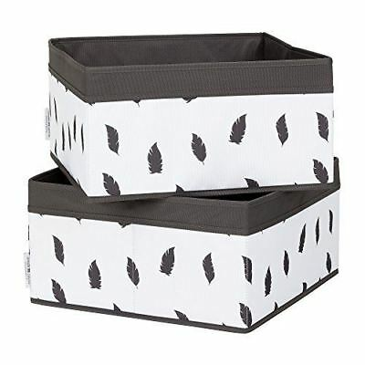 South Shore Furniture Storit White/Grey Baskets Feathers Print, 2-Pack