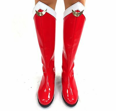 Sailor Moon Boots Red White Gold Cosplay Costume 4-12 knee boot low heel shoes