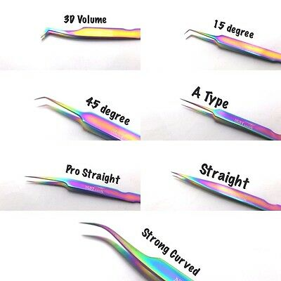 Eyelash Extensions Rainbow Multi-Color Tweezers