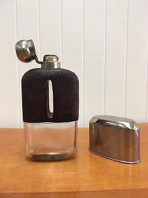 Silver Antique Leather and Glass Hip Flask
