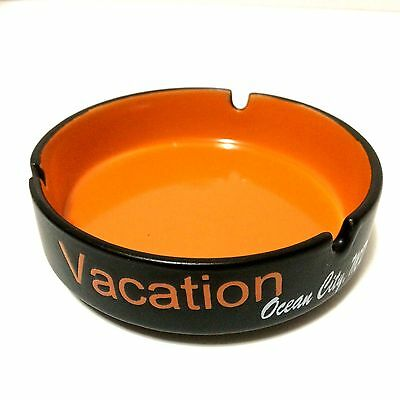 Souvenir Vacation Ashtray Ocean City MD Orange Black Ceramic Trinket Holder
