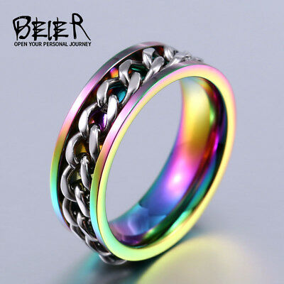 BEIER New Part Plated-Gold/Black Man's Spin Chain Ring For Stainless Steel Co...
