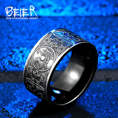 BEIER Cool Unique Animal For Man Stainless Steel Do The Old Retro Gothic Chin...