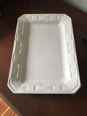 Longaberger Woven Traditions Pottery Rectangle Serving Plate Ivory MADE In USA!!