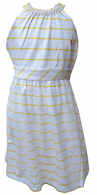 Penguin Girls Slub Jersey Dress White/Yellow Stripes Ages 8 Years up to 15 Years