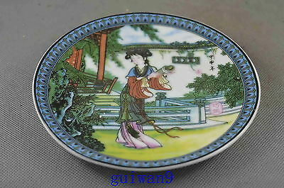 Collectible Handwork Porcelain Paint Belle Inside Yard Read Book Lucky Plates