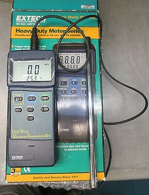 Extech 407123 Anemometer & Probe WORKING! Thermal-wire type PC interface; RS-232